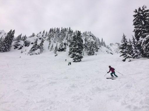 Maggie's first run down Seventh Heaven, Stevens Pass, WA