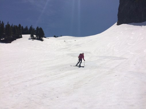 Maggie skiing the perfect corn snow!