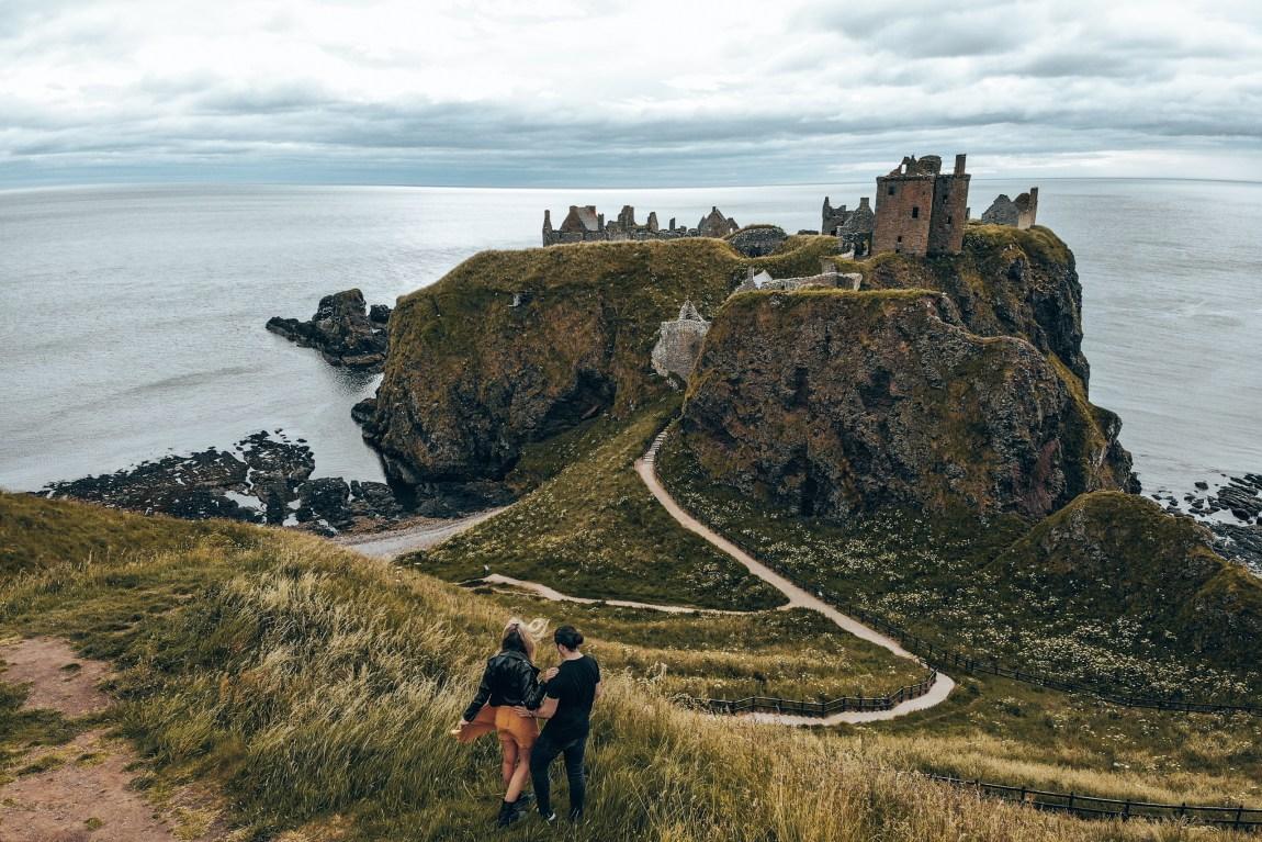 dunnottar castle drone view
