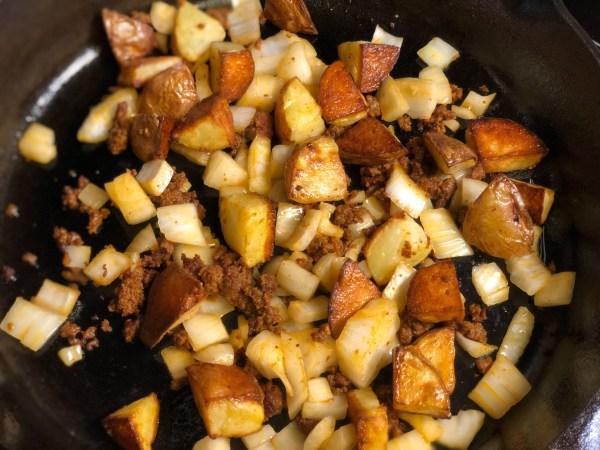 Cheesy Chorizo Potatoes Breakfast Skillet Recipe