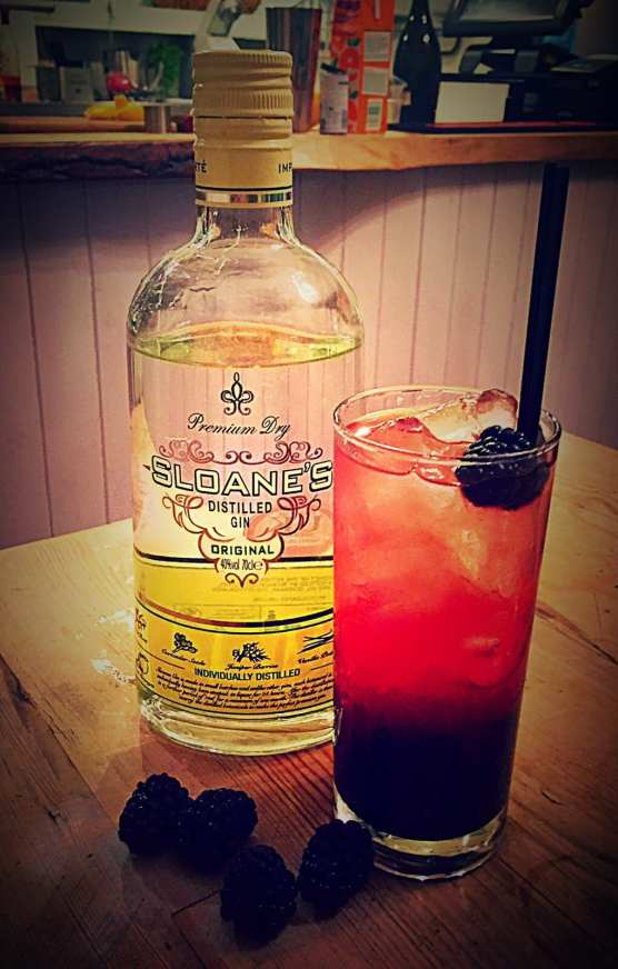 blackberries with sloanes gin