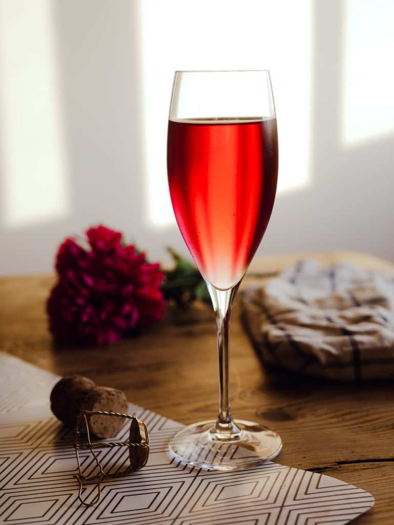 Red Champagne cocktail