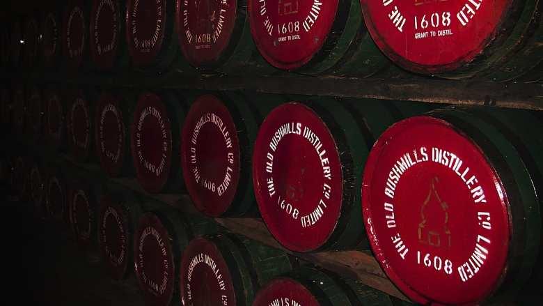 Bushmills Irish whiskey casks in warehouse