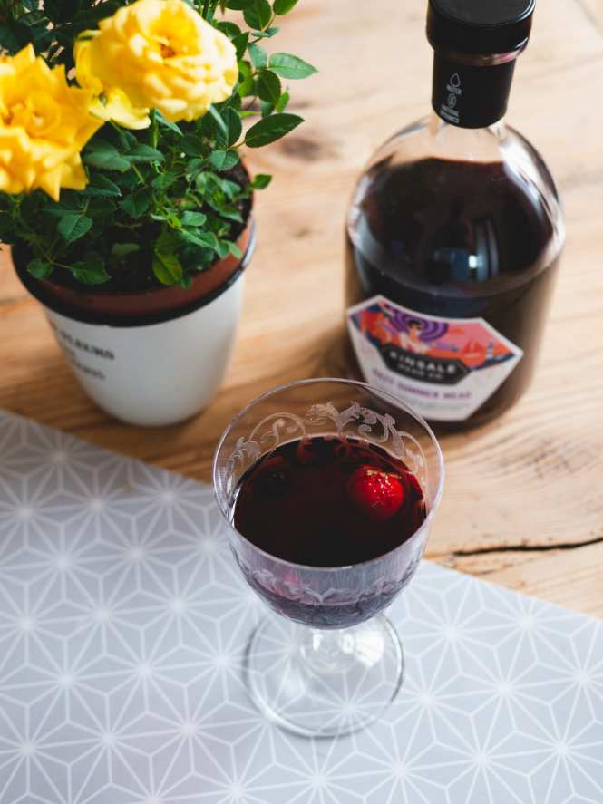 Kinsale Mead served with frozen berries