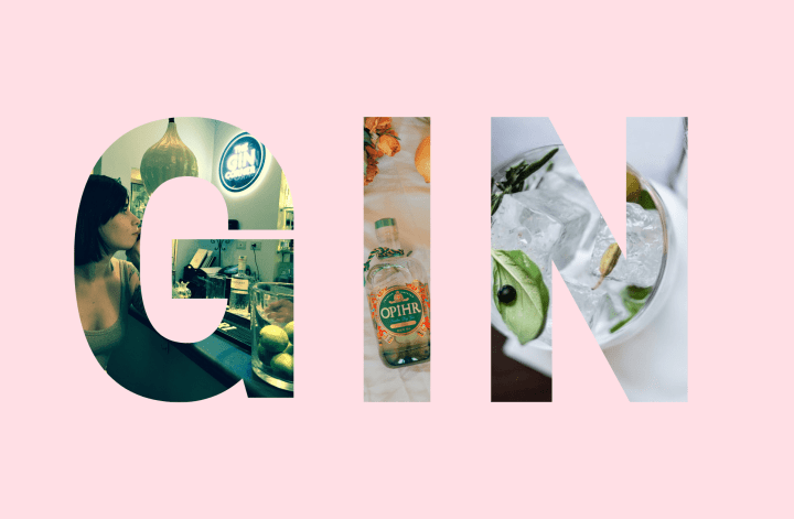 Large letters with photos to spell gin