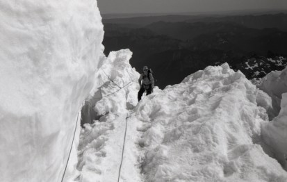 Grant on Emmons Shoulder on Mt Rainier via Disappointment Cleaver