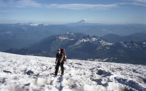 Grant on the snow hike to Camp Muir on Mt Rainier