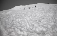 Herd of climers working up Mt Rainier via Disappointment Cleaver