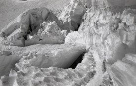 Weak snowbridges on Emmons Shoulder on Mt Rainier via Disappointment Cleaver