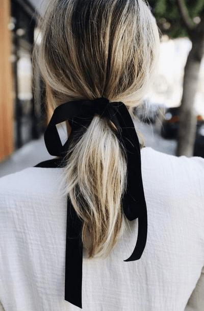 black hair ribbon