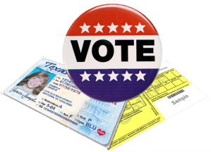 "Texas Driver's License, Voter Registration Card and a ""Vote"" Button"