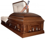Open Casket with Hand holding Phone