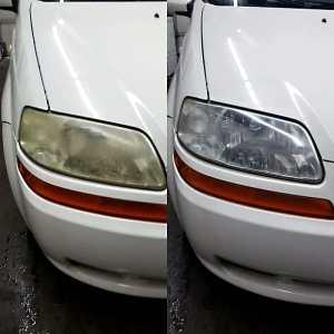 Headlight restoration service.