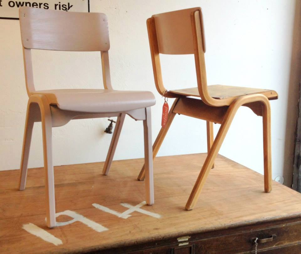 Vintage School Chairs Lilac  On The Square Emporium
