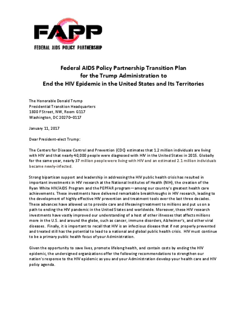 thumbnail of FAPP – Transition Plan for Trump Administration to End HIV in the US and its Territories