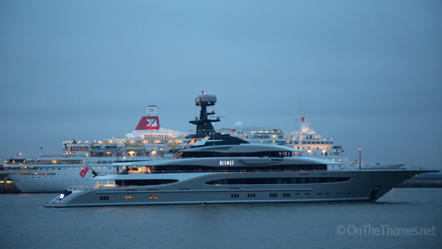 Superyacht Kismet Leaves London On The Thames