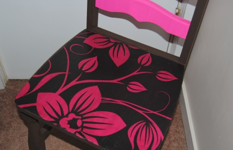 The Pillow Case Makeover: Upcycled, Pink and Brown Hand Painted Decoupage Chair  (5/5)