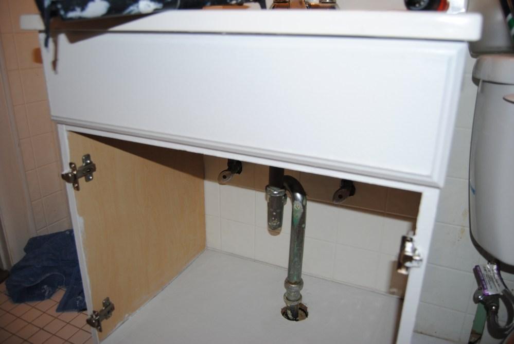 Design On A Nickel: Bathroom Cabinet Decoupage Restyle  (3/6)