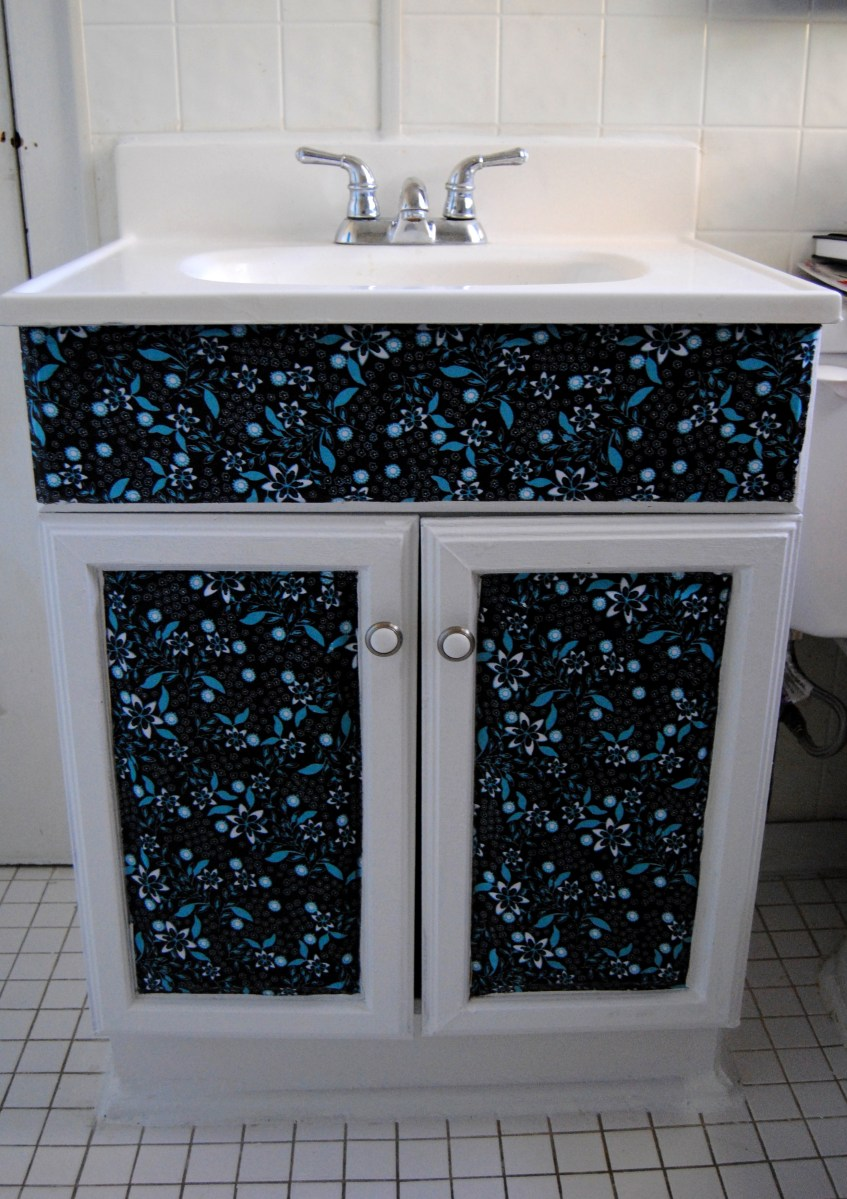 Design On A Nickel Bathroom Cabinet Decoupage Restyle