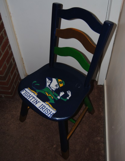 notre dame chair dining construction fighting irish decoupage college football on the sports