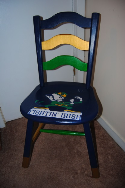 notre dame chair where to make cushions on the upcycle fighting irish decoupage college football