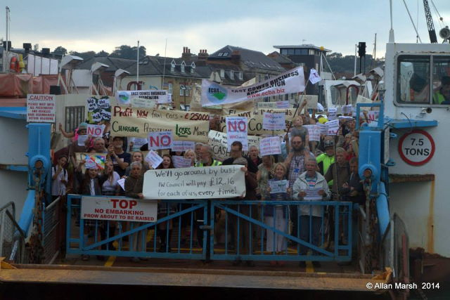 Floating Bridge protesters on Bridge by Allan Marsh