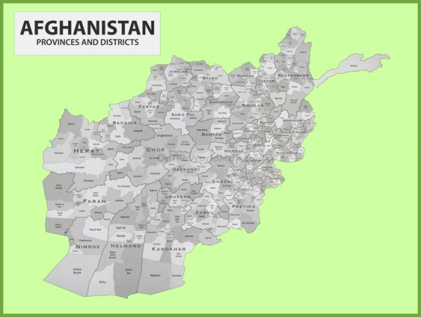 Administrative map of Afghanistan with provinces and districts