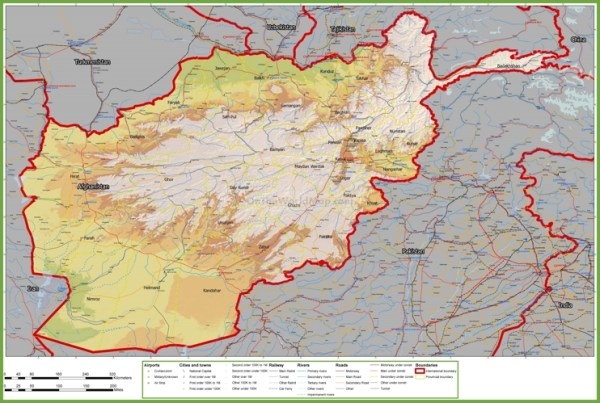 Large detailed map of Afghanistan with cities and towns