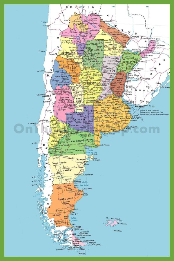 Detailed map of Argentina with cities