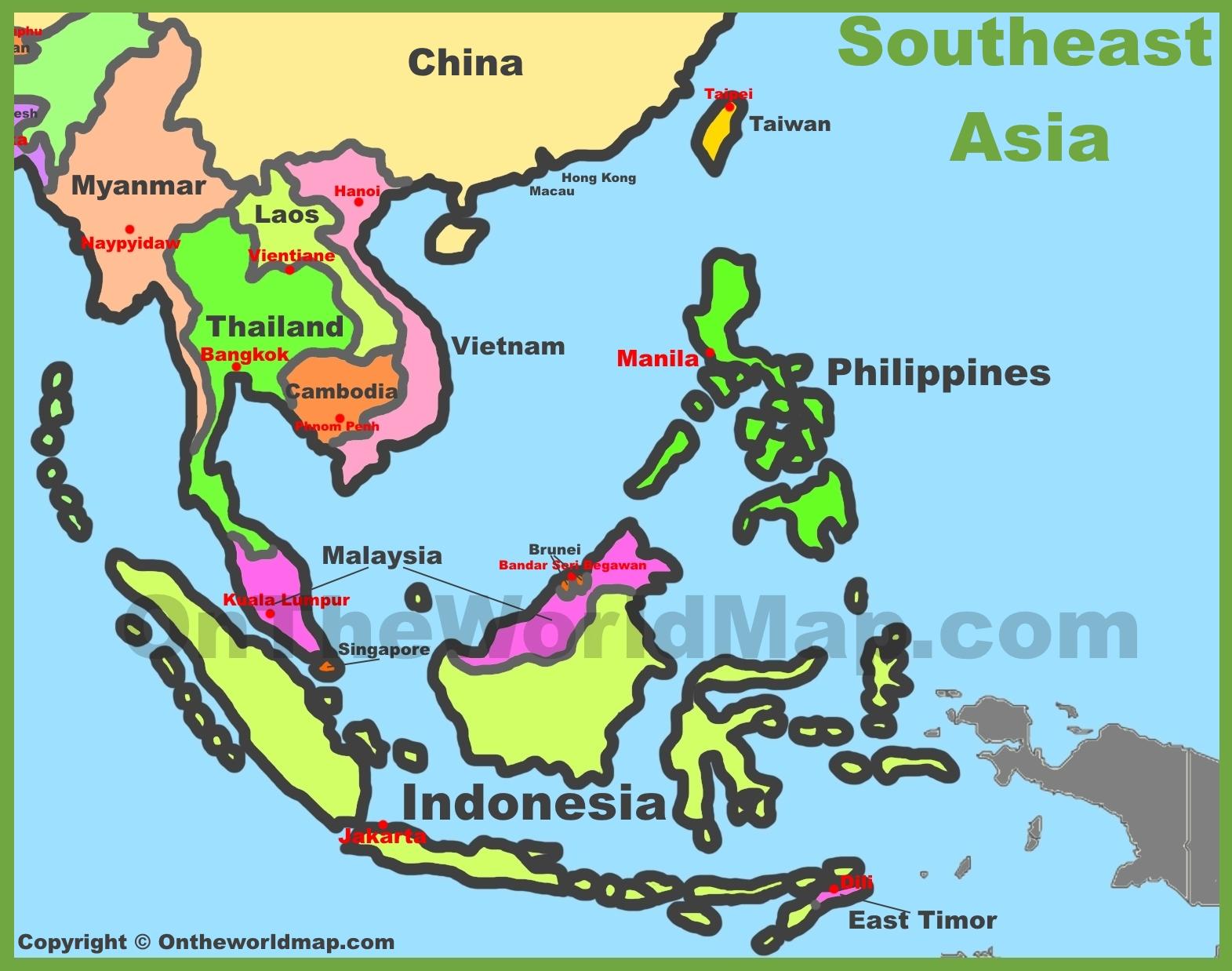 Map Of Southeast Asia Southeastern Asia