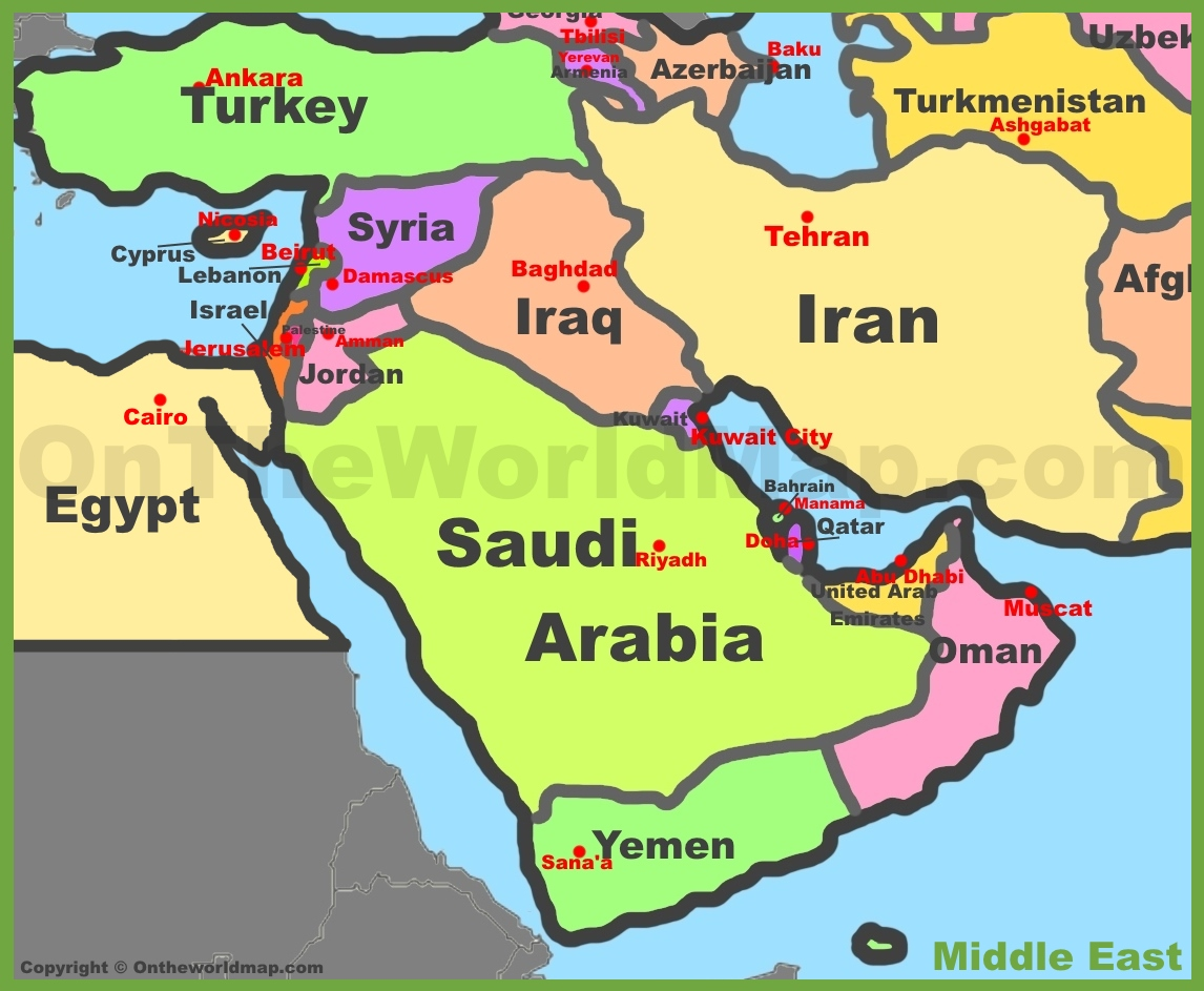 Image result for image of middle east map