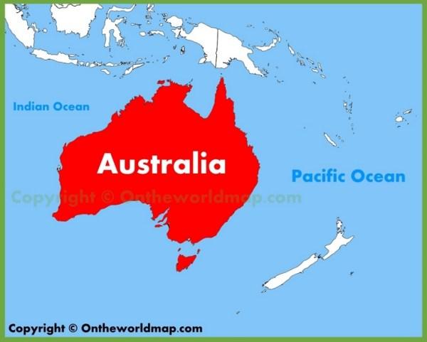 Australia location on the Oceania map
