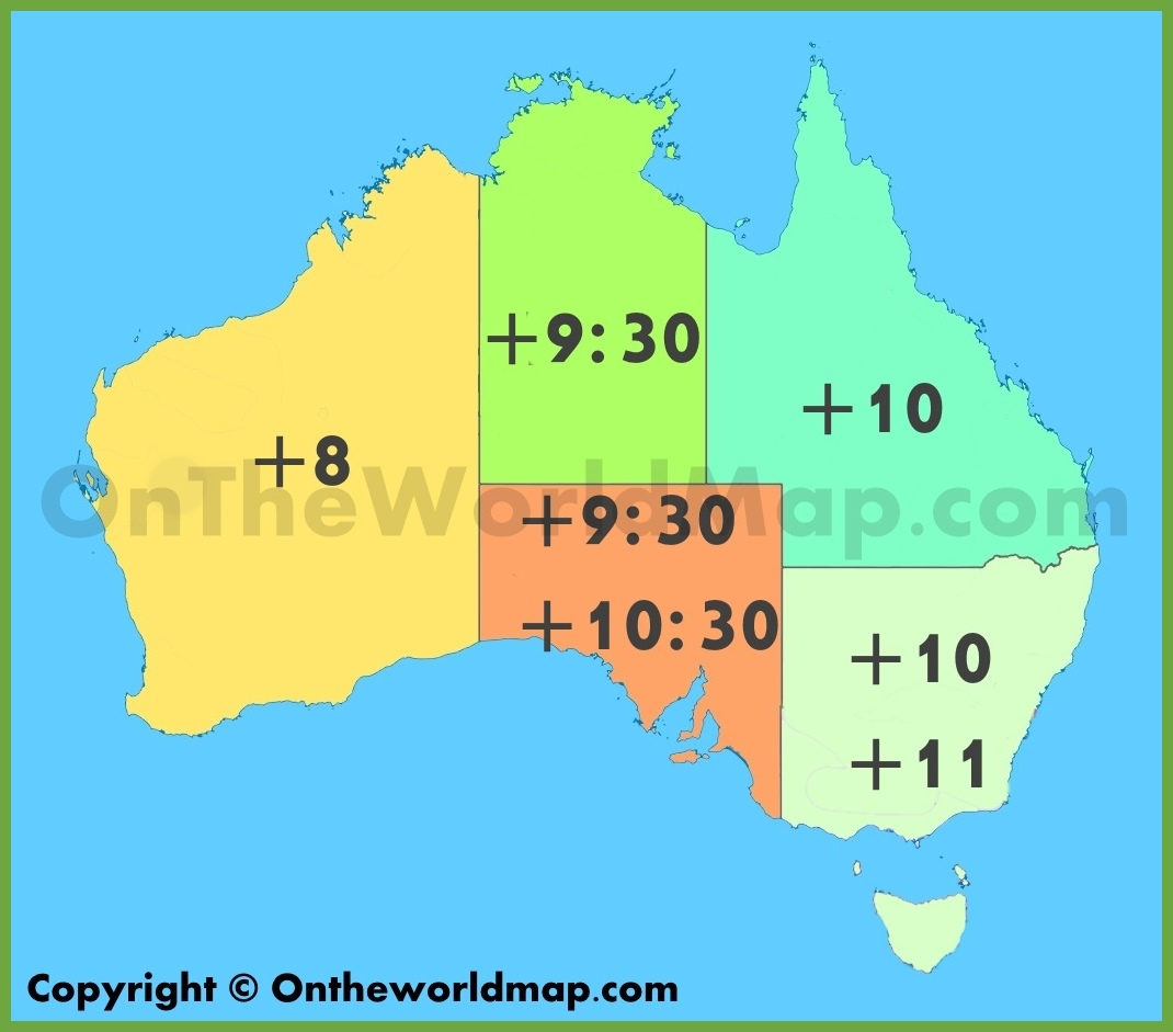 Australian Time Zone Map