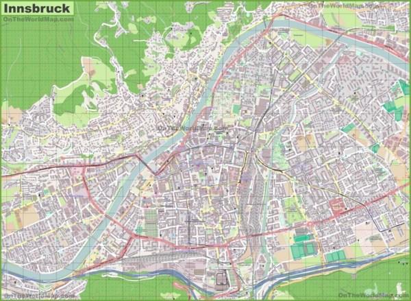 Large detailed map of Innsbruck