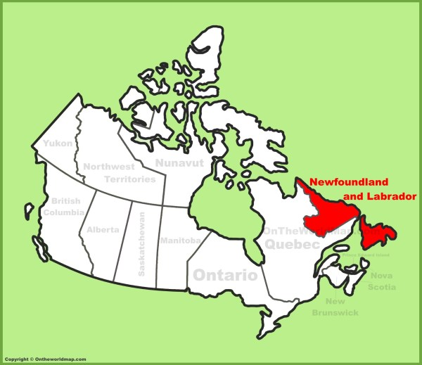 Newfoundland and Labrador Province location on the Canada Map