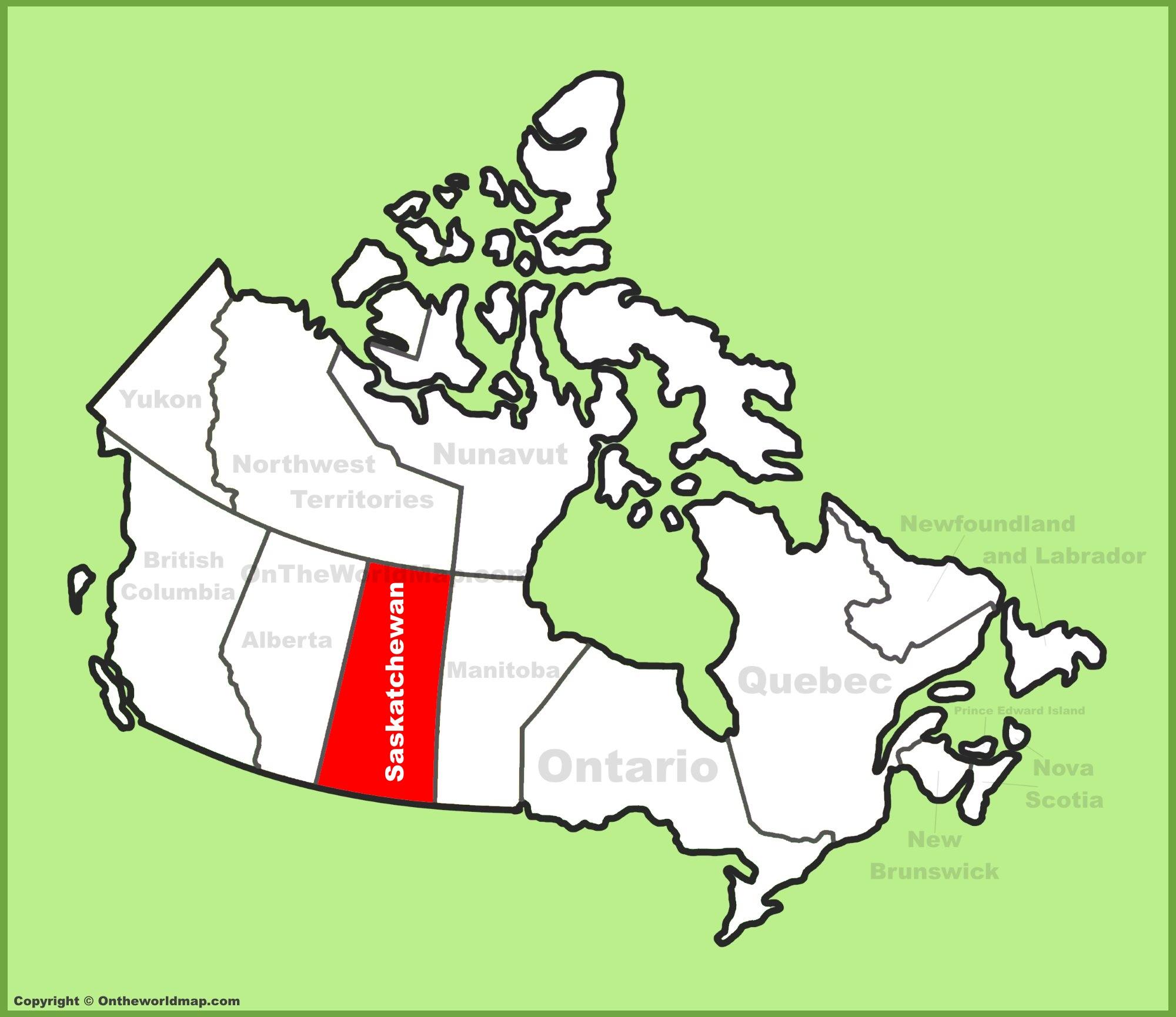 Saskatchewan Location On The Canada Map