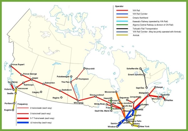 Railway map of Canada