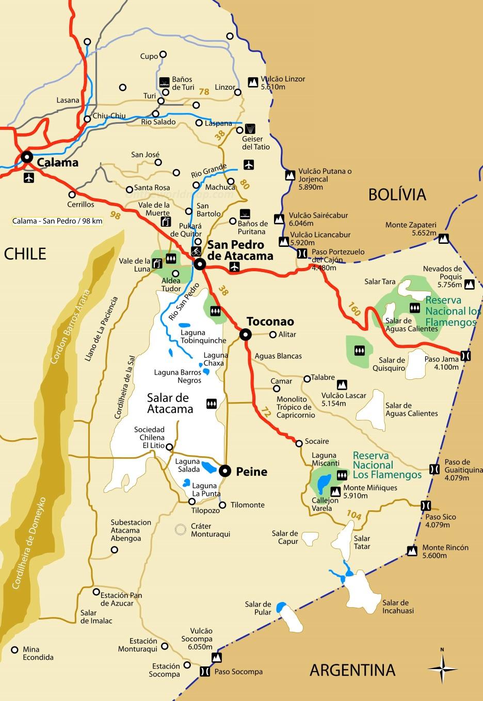 Tourist Map of Surroundings of San Pedro de Atacama