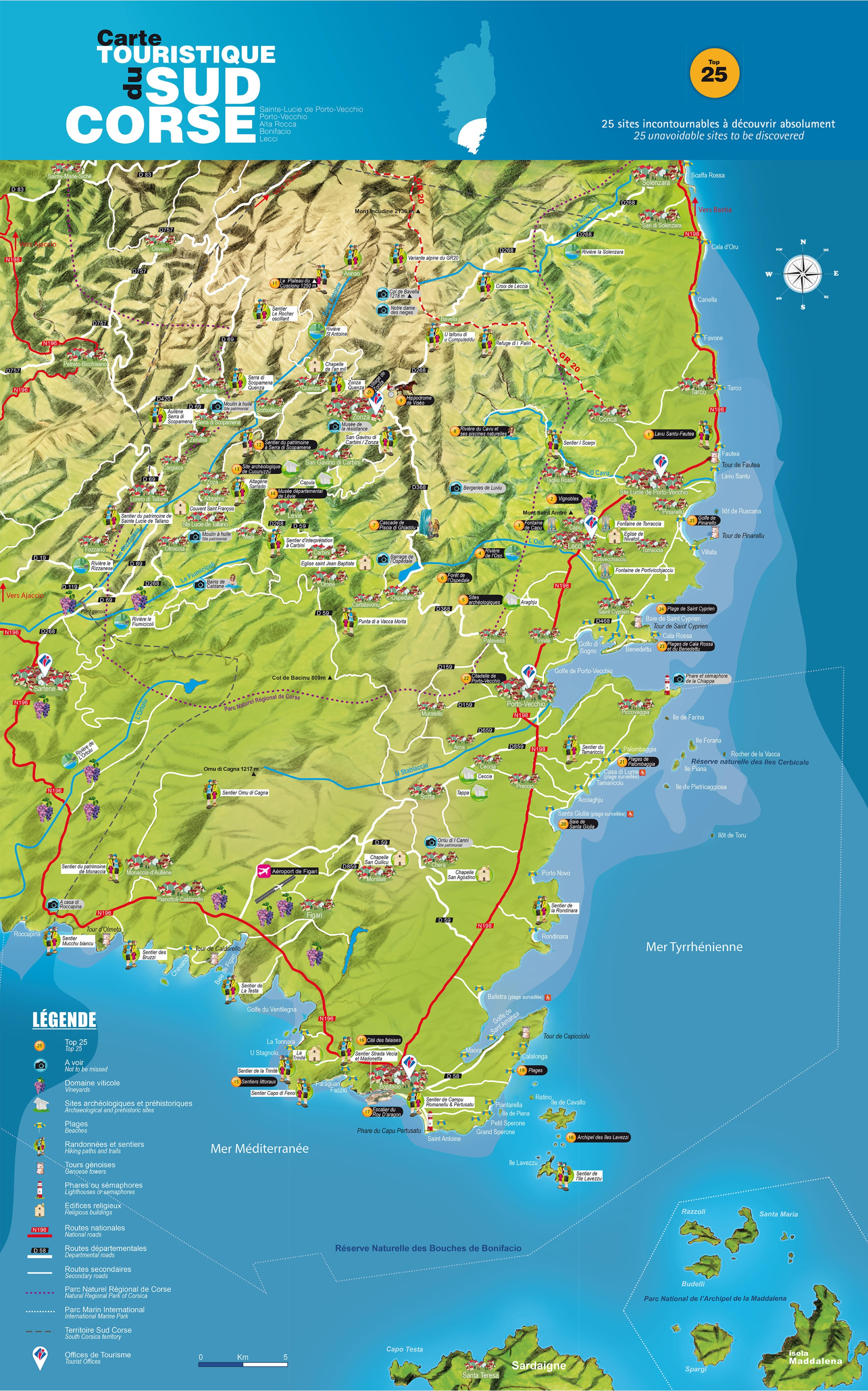 Map Corsica France And Spain