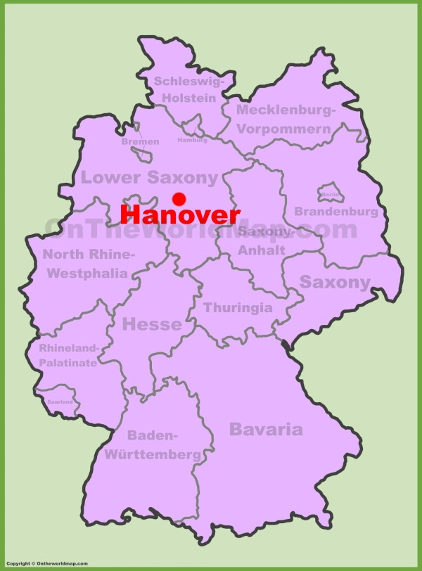 Hannover location on the Germany map