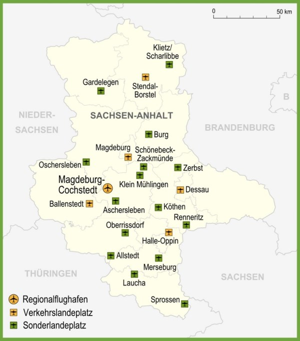Map of airports in SaxonyAnhalt