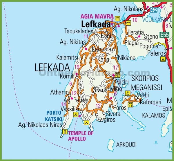Lefkada road map