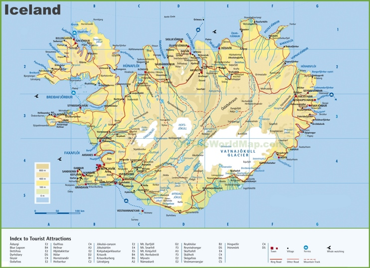 Large detailed map of Iceland with cities and towns