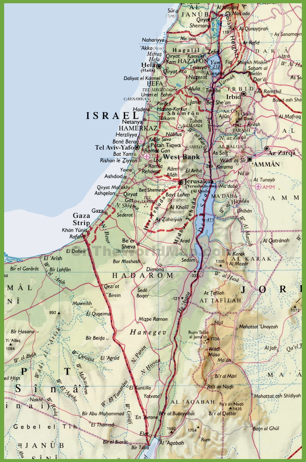 Detailed Map Of Israel With Cities