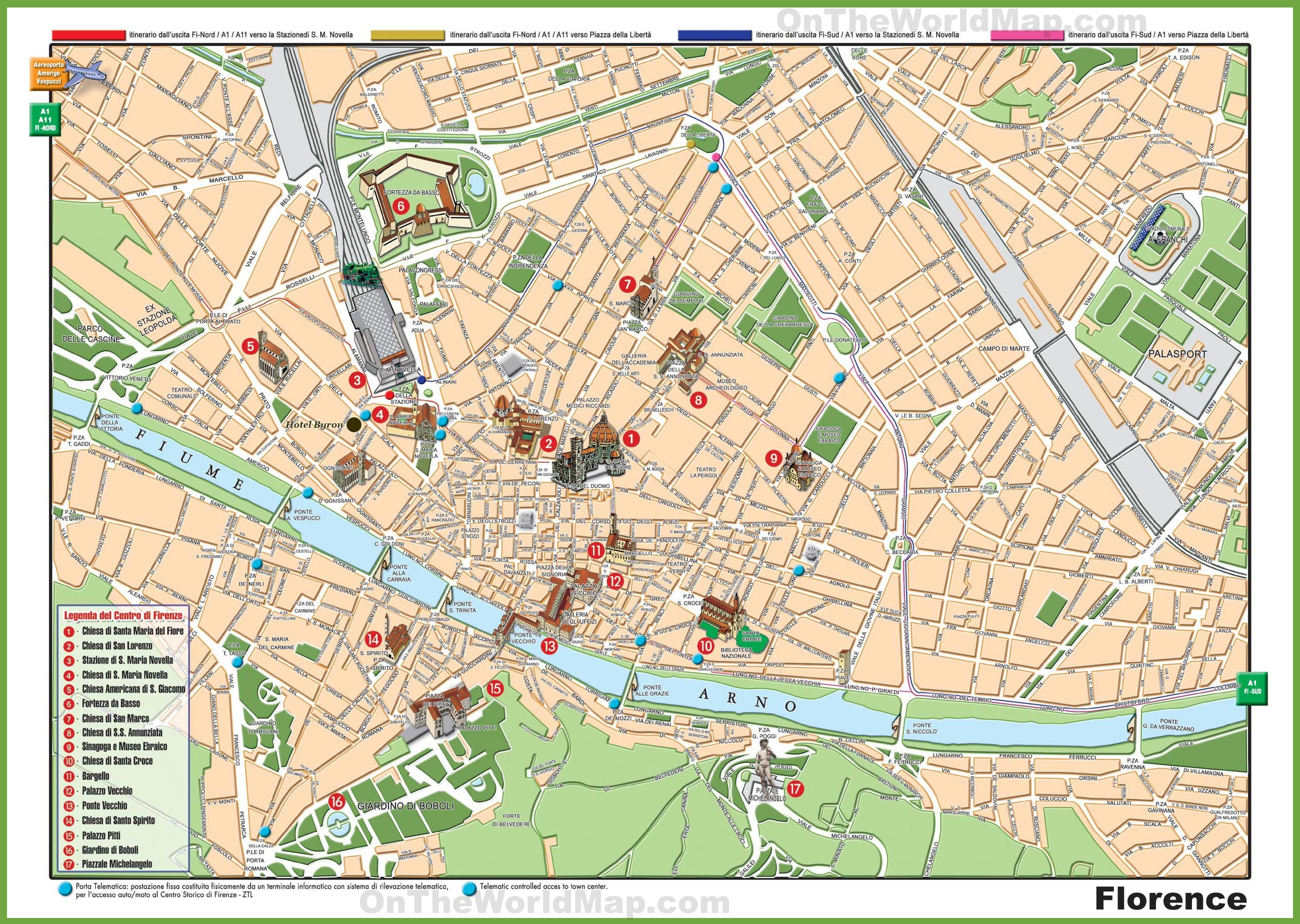 Florence sightseeing map