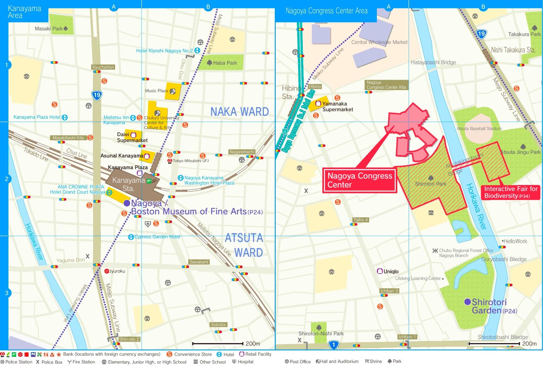 Kenayama Station Area and Nagoya Congress Center Area Map