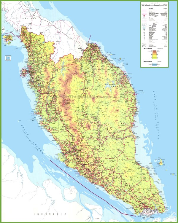 Large detailed map of West Malaysia