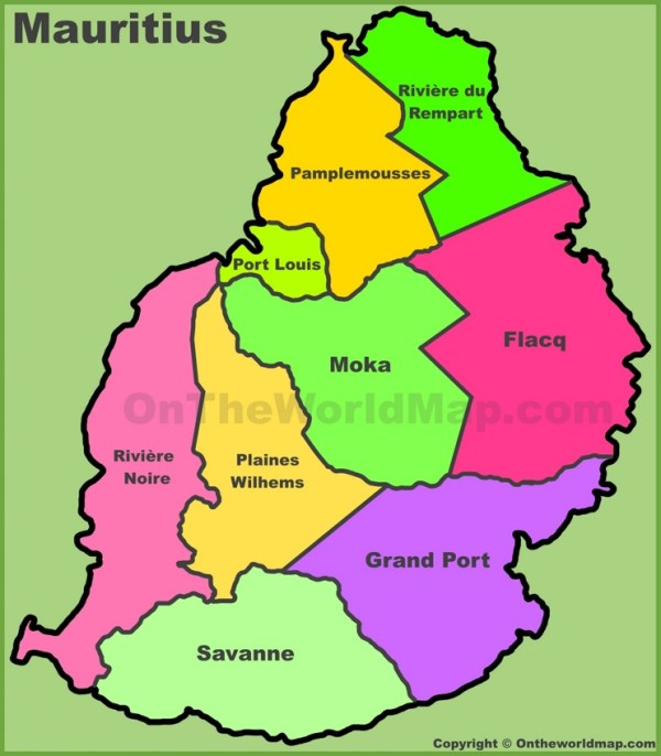 Administrative divisions map of Mauritius