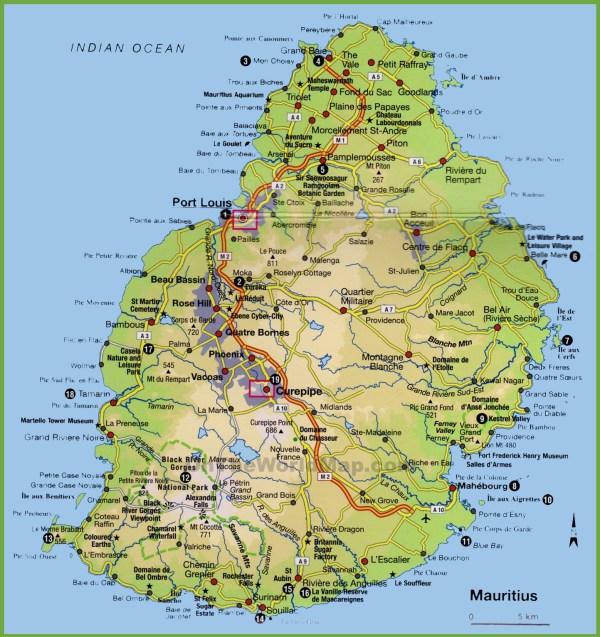Mauritius tourist map