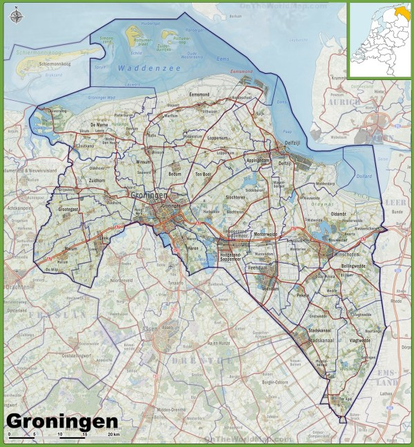 Map of Groningen province with cities and towns
